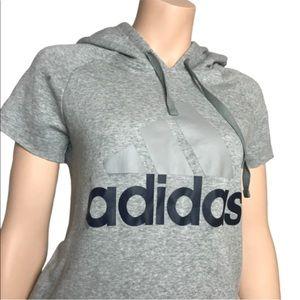 Adidas Cut Off Short Sleeve Hooded Sweatshirt Sz S